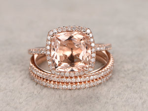 3pc 8x8mm Morganite Engagement ring set,Rose gold,Thin pave Diamond wedding band,14k,Cushion Gemstone Promise Bridal Ring,8 ball Prongs Set