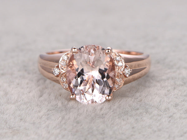 Morganite Solitaire Engagement ring, 14k Plain Rose gold,wedding band,Retro Vintage Floral,8x10mm oval stone