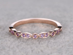 Natural Amethyst,Half Eternity Wedding Ring,Solid 14K Rose gold,Anniversary Ring,Art deco Marquise style,stacking,milgrain,Matching band