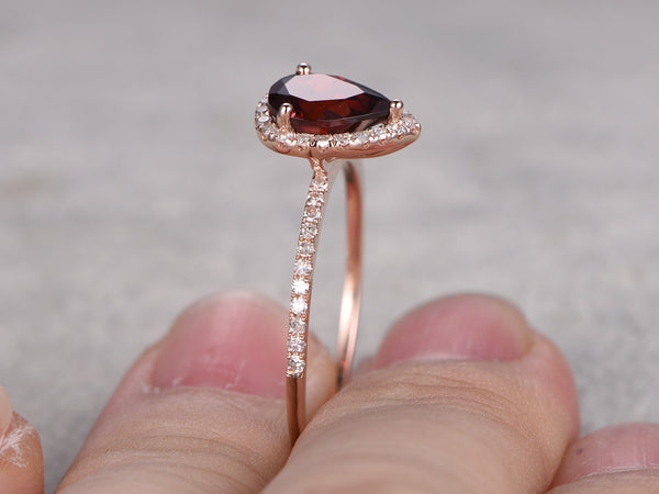 6x8mm Pear Cut Red Garnet Engagement ring Rose gold,Garnet Bridal ring