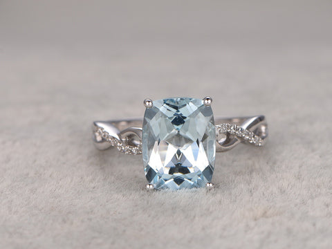 2.02ct Cushion Natural Aquamarine Ring!Diamond Loop curved wedding band,14K White Gold,Blue stone Promise Ring,Bridal Ring,Ball prong
