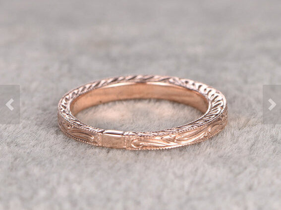 Custom order for special customer: Size US5.5,insert a 1.5mm diamond inside,Eternity Infinity Wedding Ring,Solid 14K Rose gold
