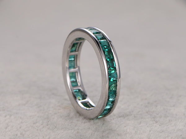 2.35ct Princess Cut Emerald Wedding Band,Solid 14K White gold,Anniversary Ring,Engagement stacking ring,Channel Set,Lab-treated Emerald