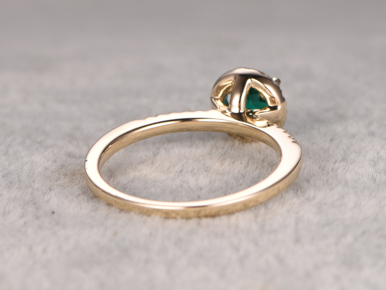 5mm VS green Emerald Engagement ring Yellow gold,Diamond wedding band,14k,Round Cut,Gemstone Promise Bridal Ring,Halo,Lab-treated