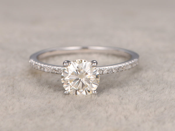 1.3ct Round Cut Moissanite Engagement Ring 14k White gold