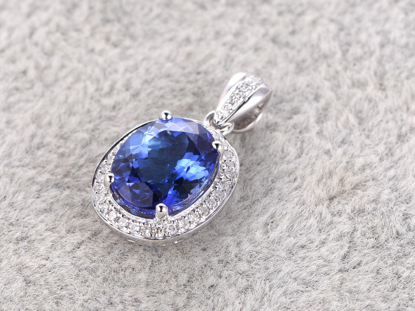 7x9mm Natural Tanzanite Pendant!Diamond 14k White gold,Halo fine design,Oval cut Blue Stone Gemstone Promise,wedding,Prong set,for necklace