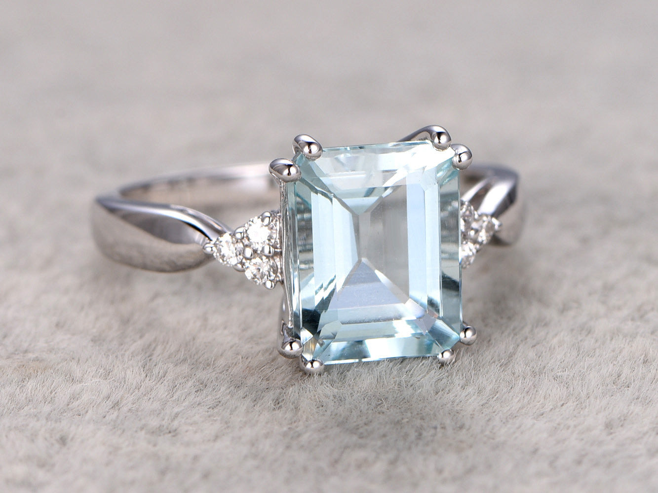 8X10mm Emerald Cut Aquamarine Engagement ring,VS Diamond wedding band,14K Gold,Gemstone Promise Bridal Ring,IF Blue,Propose ring,Prong set
