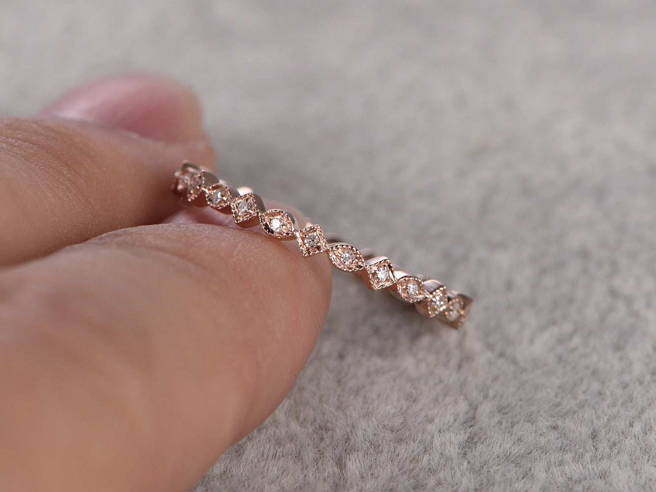 Natural Diamond Full Eternity Wedding Ring,Solid 14K Rose gold,Anniversary Rings,Art deco,stacking ring,milgrain,Art Deco,Retro vintage Band