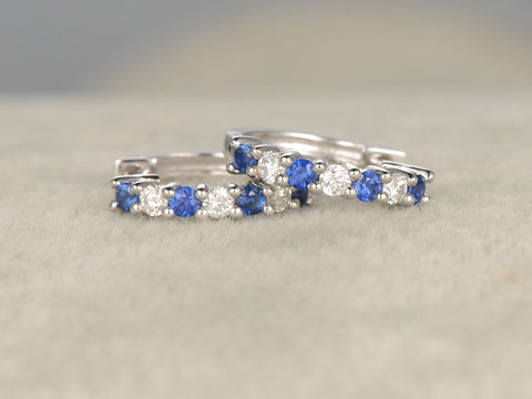 Sapphire and Diamond earrings pair!Solid 14K White gold,Blue Stone Gemstone Promise,wedding,Prong,Pave,hoop earrings