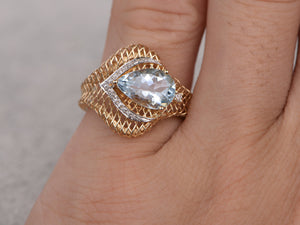 Pear shaped Natural Aquamarine Ring!Yellow gold,Bridal,New Design,14k,Blue Stone Promise Ring,Filigree set