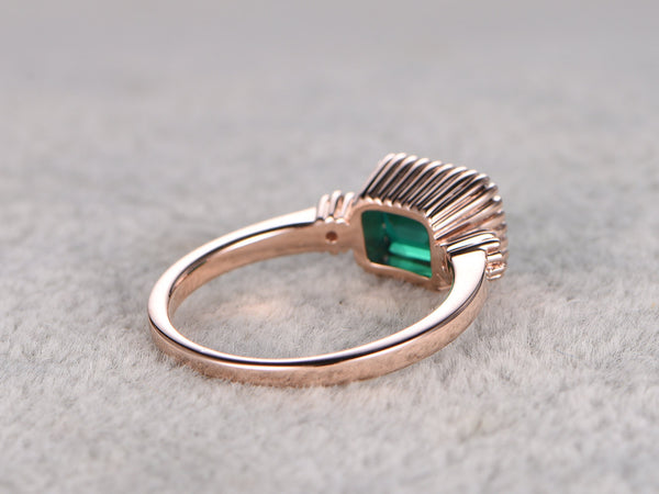 6x4mm Emerald Engagement ring,Rose gold,14k,flush band,Emerelad Cut Treated Emerald,Green Gemstone Promise Ring,set horizontal
