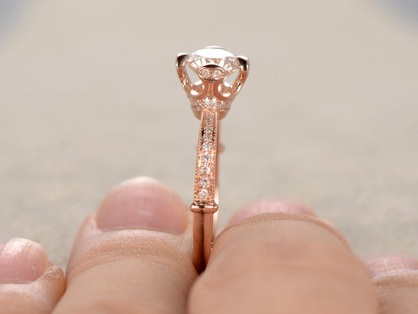 6.5mm brilliant Moissanite Engagement ring Rose gold,Diamond wedding band,14k,Round Cut,Gemstone Promise Bridal Ring,unique prong,new design