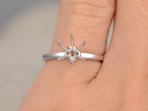 Customized semi mount:6-prong setting,14k white gold,diamond bottom,Size US 5.5,For 2ct round diamond