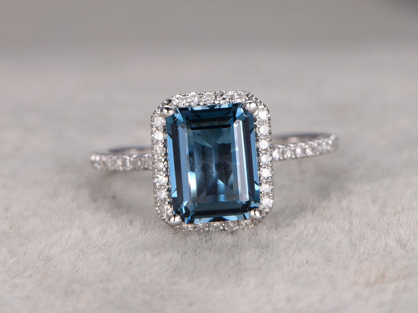 6x8mm London Blue Topaz Engagement ring,14k White gold,Diamond wedding band,Emerelad Cut,Blue Gemstone Promise Ring,Bridal,ball prongs