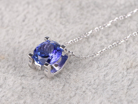 7mm Natural 3A Tanzanite Pendant!14k White gold,Round cut,Blue Stone Gemstone Promise,wedding,Prong set,for necklace