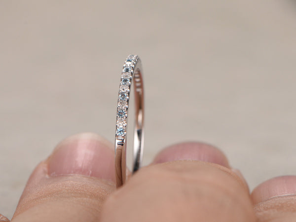 Thin design,Topaz Diamond Wedding Ring,14K White gold,Anniversary Ring,Half Eternity Band,stackable ring,milgrain,Matching band,Micro pave