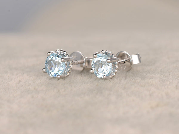 Natural Aquamarine earrings pair!14k White gold,Blue Stone Gemstone Promise,wedding,Prong,Pave,Bezel set