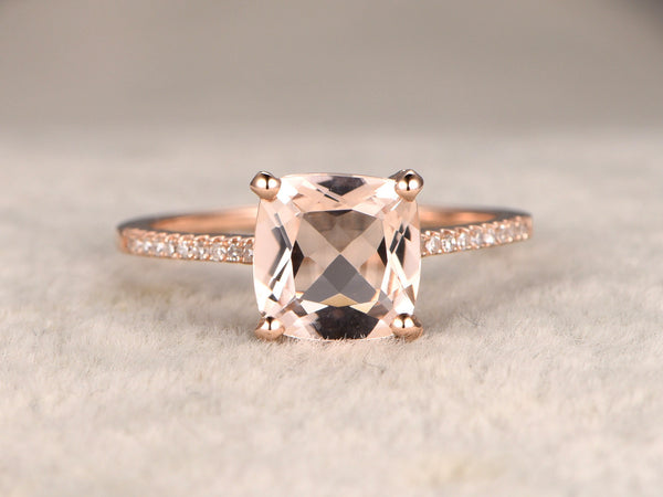 8mm Cushion Morganite Engagement ring Rose gold,Diamond wedding band,14k,Gemstone Promise Ring,Bridal Ring,Thin band,basket back setting