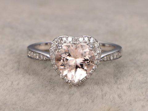 8mm Heart Shaped Cut Morganite Engagement ring White gold,Diamond wedding band,14k,Gemstone Promise Ring,Bridal Ring,fashion Design,Halo