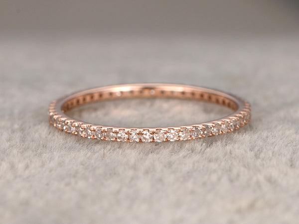 Full Eternity Band,White Sapphire Wedding Ring,Solid 14K Rose gold,Anniversary Ring,stackable ring,Matching band,Micro pave,Thin design