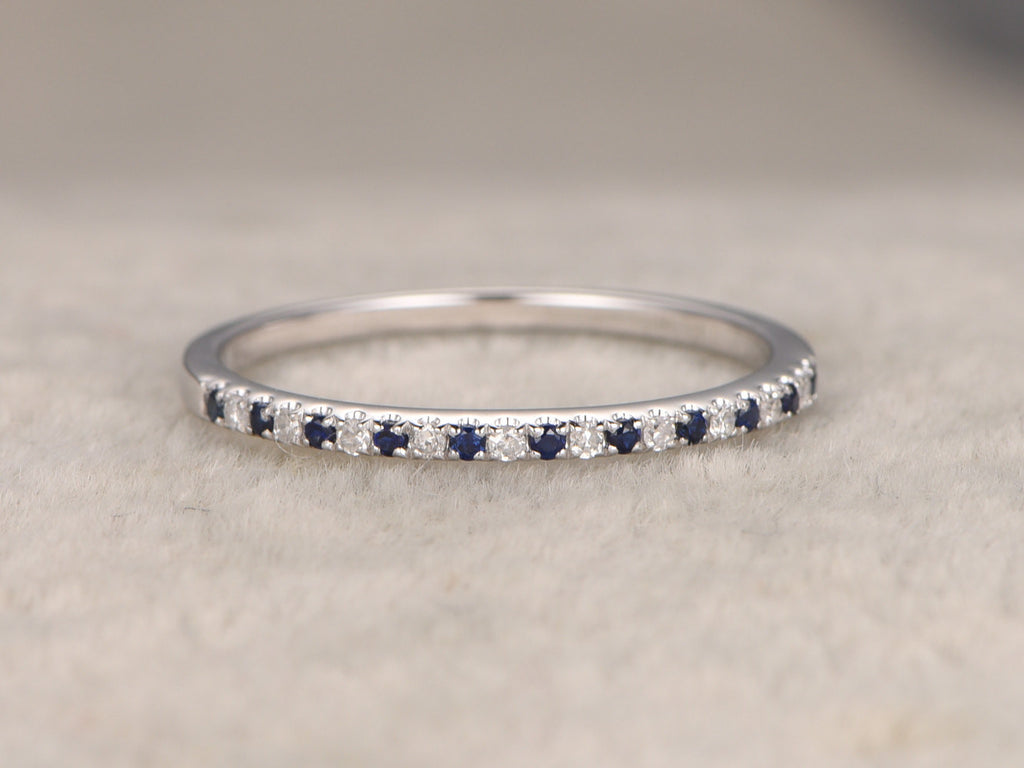 Natural Sapphire and Diamond,Half Eternity Wedding Ring,Solid 14K White gold,Anniversary Ring,Art deco,stacking ring,Thin design matching
