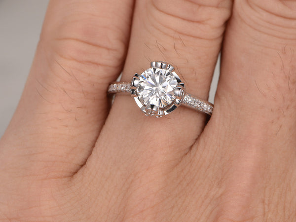 1.5ct Royal Crown Moissanite Engagement ring,14k White gold,Royal Crown