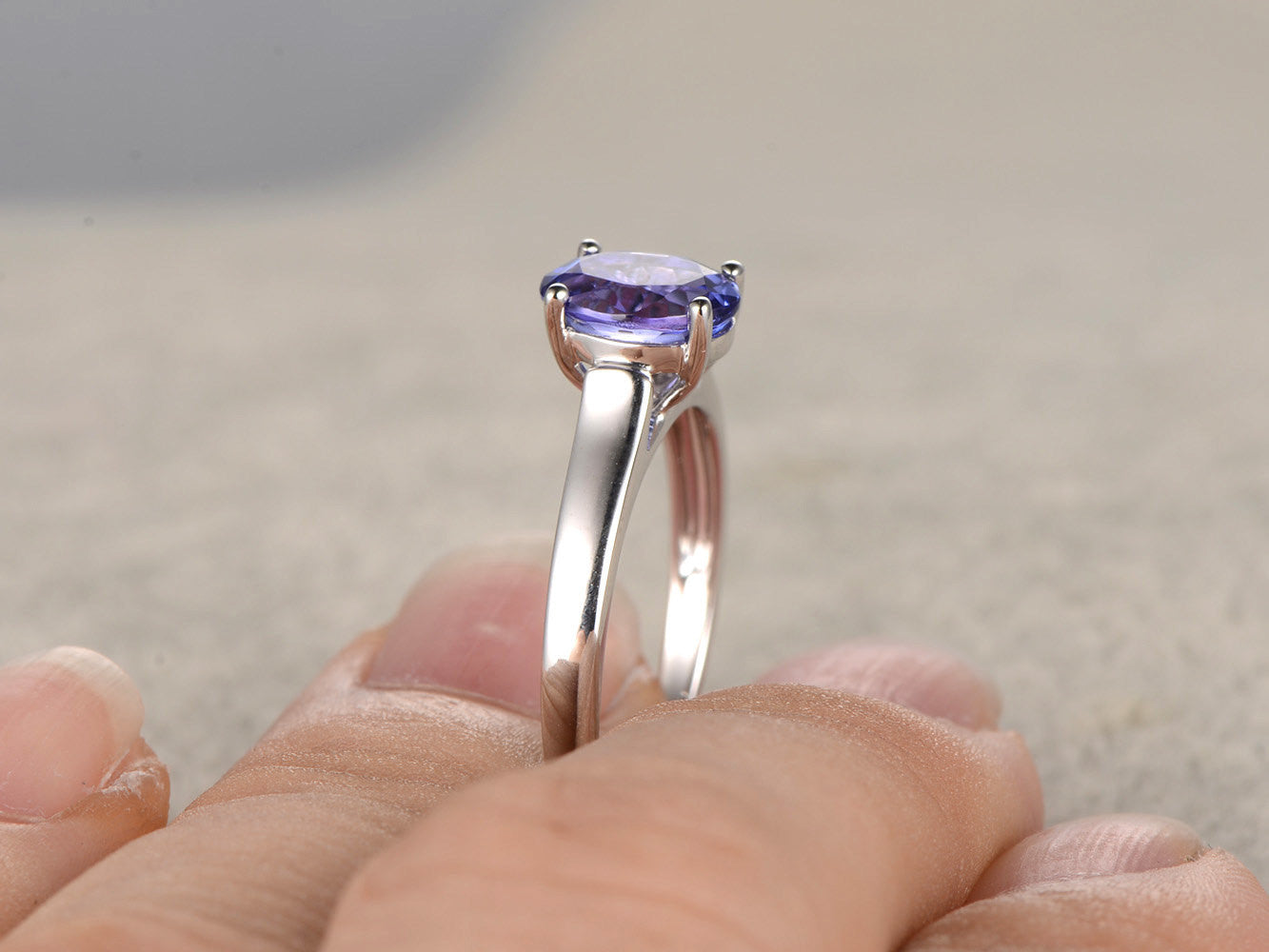 Tanzanite Engagement ring,Solitaire Promise Ring,14K White Gold,Plain gold band,1.37ctw AAAA gemstone