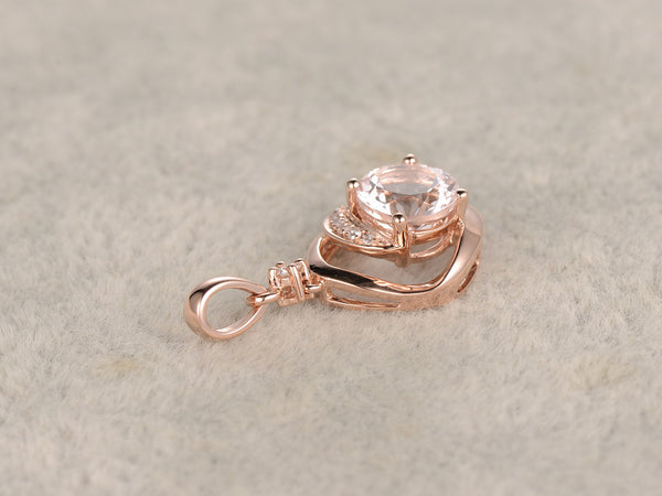 Natural Morganite Pendant, Diamond around,14k Rose gold,Pink Stone Pendant
