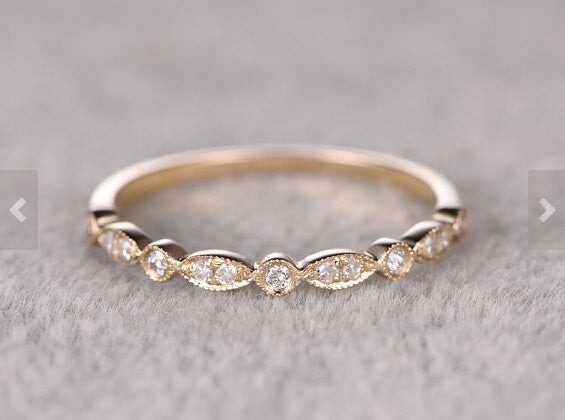 Custom order for special customer: Size US5,Natural Diamonds,Half Eternity Wedding Ring,Solid 14K Yellow gold,2mm height