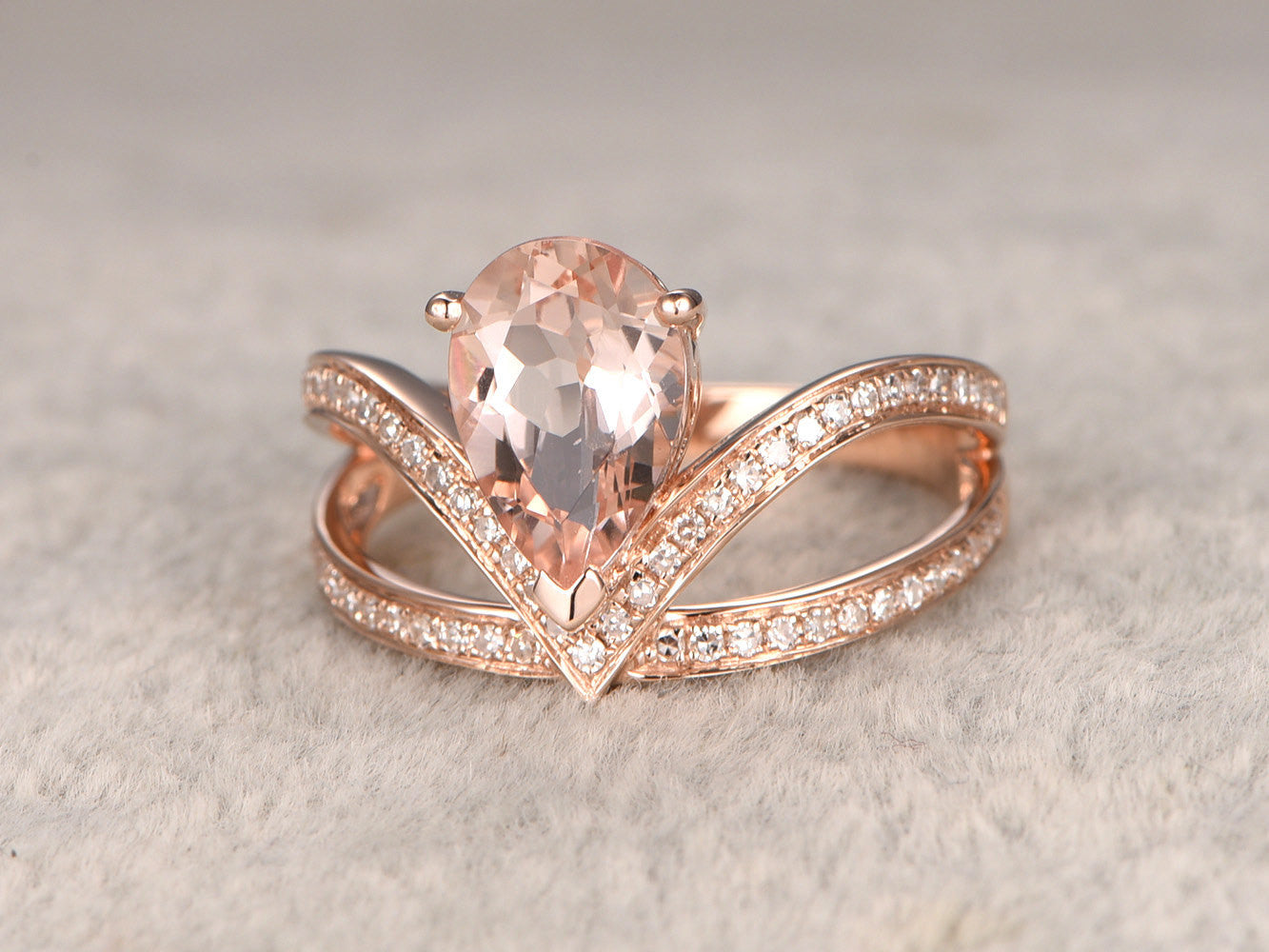 7x10mm Morganite Engagement ring.14k rose gold,Diamond wedding band,Pear shaped,Gemstone Promise Bridal Ring,ball prong,Pave Set