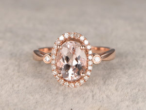 6x8mm VVS Morganite Engagement ring Rose gold,Plain wedding band,14k,Oval Cut,Gemstone Promise Bridal Ring,Claw Prongs,Halo