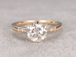 1ct brilliant Moissanite Engagement ring Yellow gold,Diamond wedding band,14k,6.5mm Round,Gemstone Promise Bridal Ring,6-prongs