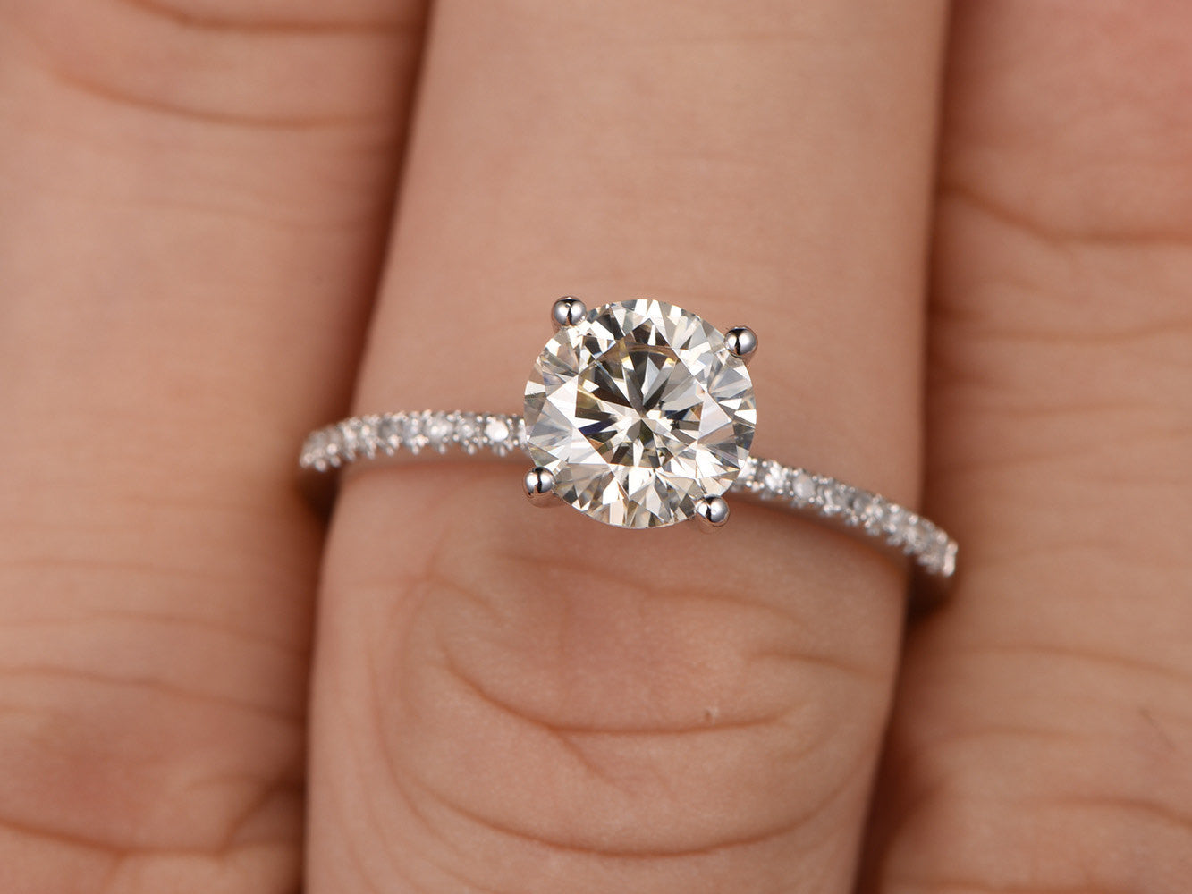 1.3ct brilliant Moissanite Engagement ring White gold,Diamond wedding band,14k,7mm Round Cut,Moissanite jewelry