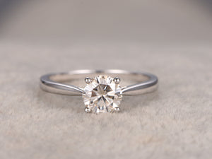 Classic Charles & Colvard Moissanite Engagement ring White gold,plain gold band,14k,Solitaire ring