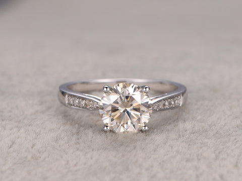 1.5ct Moissanite Engagement ring,Diamond pave set,14k,7.5mm Round,white gold