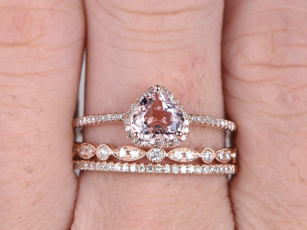 3pcs Morganite Bridal Ring Set,Engagement ring Rose gold,Diamond wedding band,14k,6mm Heart Shaped,Gemstone Promise Ring,Art Deco Eternity