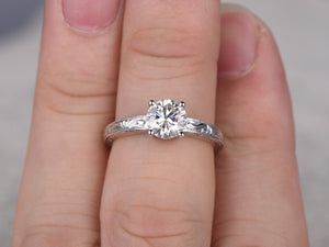 1ct brilliant Moissanite Engagement ring White gold,Solitaire Moissanite Ring,Art deco Filigree Floral Wedding Band,14k,6.5mm,Bridal Ring