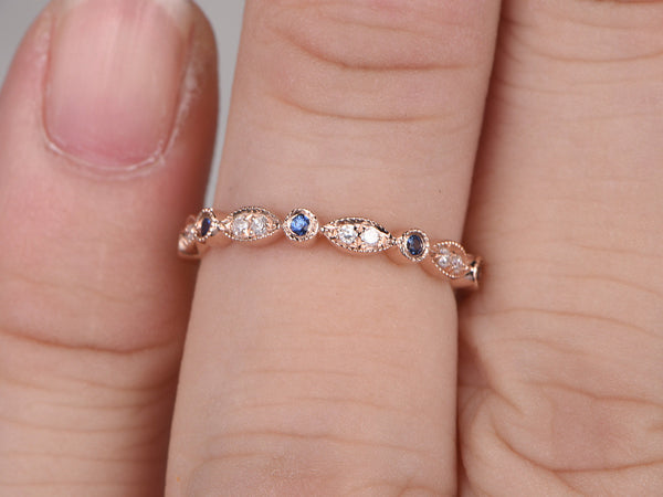Natural Diamonds and Blue Sapphire,Half Eternity Wedding band,14K rose gold,Anniversary Ring,Art deco Marquise style,stacking,milgrain