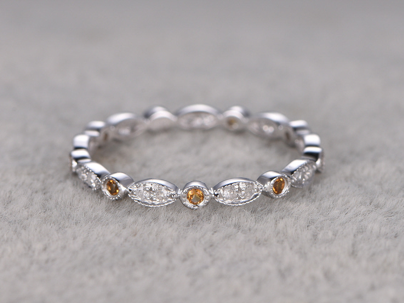 Natural Citrine and Diamond,Full Eternity Wedding Ring,Solid 14K White gold,Anniversary Ring,Art deco,stacking,milgrain,Retro vintage Unique