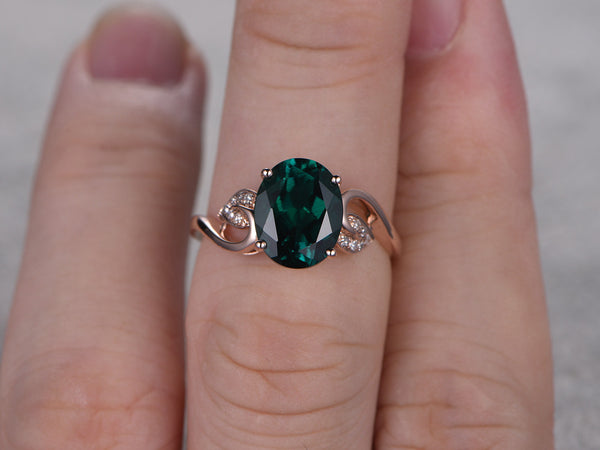 8x10mm Oval Treated Emerald ring,Diamond wedding band,14K Rose Gold,Gemstone Promise Bridal Ring,Vivid Green,Propose ring,Floral,Filigree