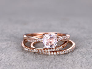 3pc 6mm Morganite Engagement ring set,Rose gold,Diamond wedding band,14k,Cushion Cut,Gemstone Promise Bridal Ring,Twist Eternity band