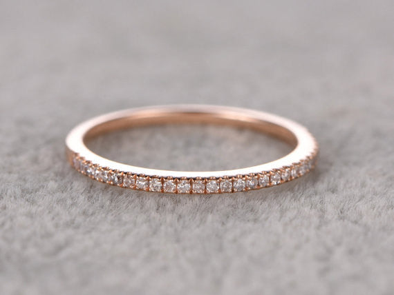 Custom order for a special customer,7mm round moissanite engagement ring,half eternity diamond wedding band size 6,14k rose gold.