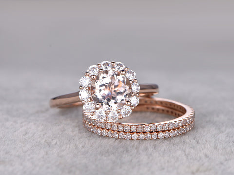 3pc Morganite Engagement ring set,Moissanite Floral Halo,Plain gold band,Thin Diamond wedding band,Full eternity,14k Rose Gold,7mm round