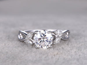 Art Deco Round Cut Moissanite Engagement ring,3.5x2mm Marquise Diamond,Floral Design,14k White Gold