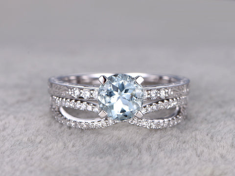2 Aquamarine Ring Bridal Set,Engagement ring,Filigree floral design,Infinity Diamond wedding band,14K,7mm Round Cut,white gold,Promise Ring
