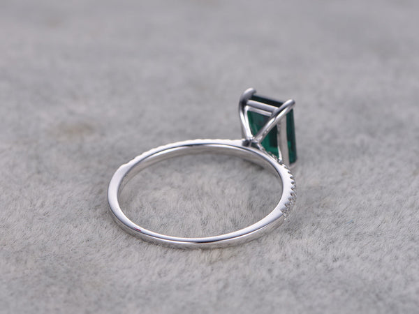 6x8mm Emerald Engagement ring White gold,Diamond wedding band,14k,Emerelad Cut Treated Emerald,Green Gemstone Promise Ring,Bridal Ring,Prong