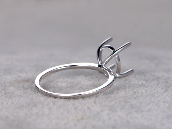 Customized semi mount:solitare ring setting,14k white gold,plain gold band,to accommodate a oval stone 8x10mm