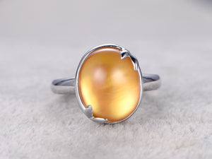 6.6ct BIG Natural Citrine Bridal Ring,Engagement ring,14k White gold,leaf design,Promise Ring,Statement Ring,Anniversary Ring