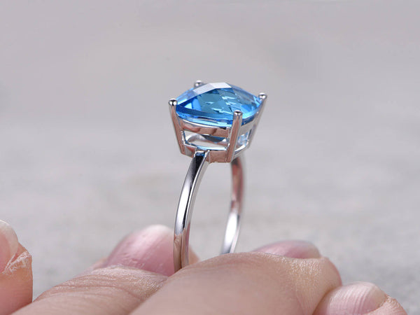Topaz Engagement ring,9mm Cushion Cut,14K White Gold,Blue Gemstone Promise Ring,Bridal Ring,Solitaire ring,Plain gold band,Ball Prongs