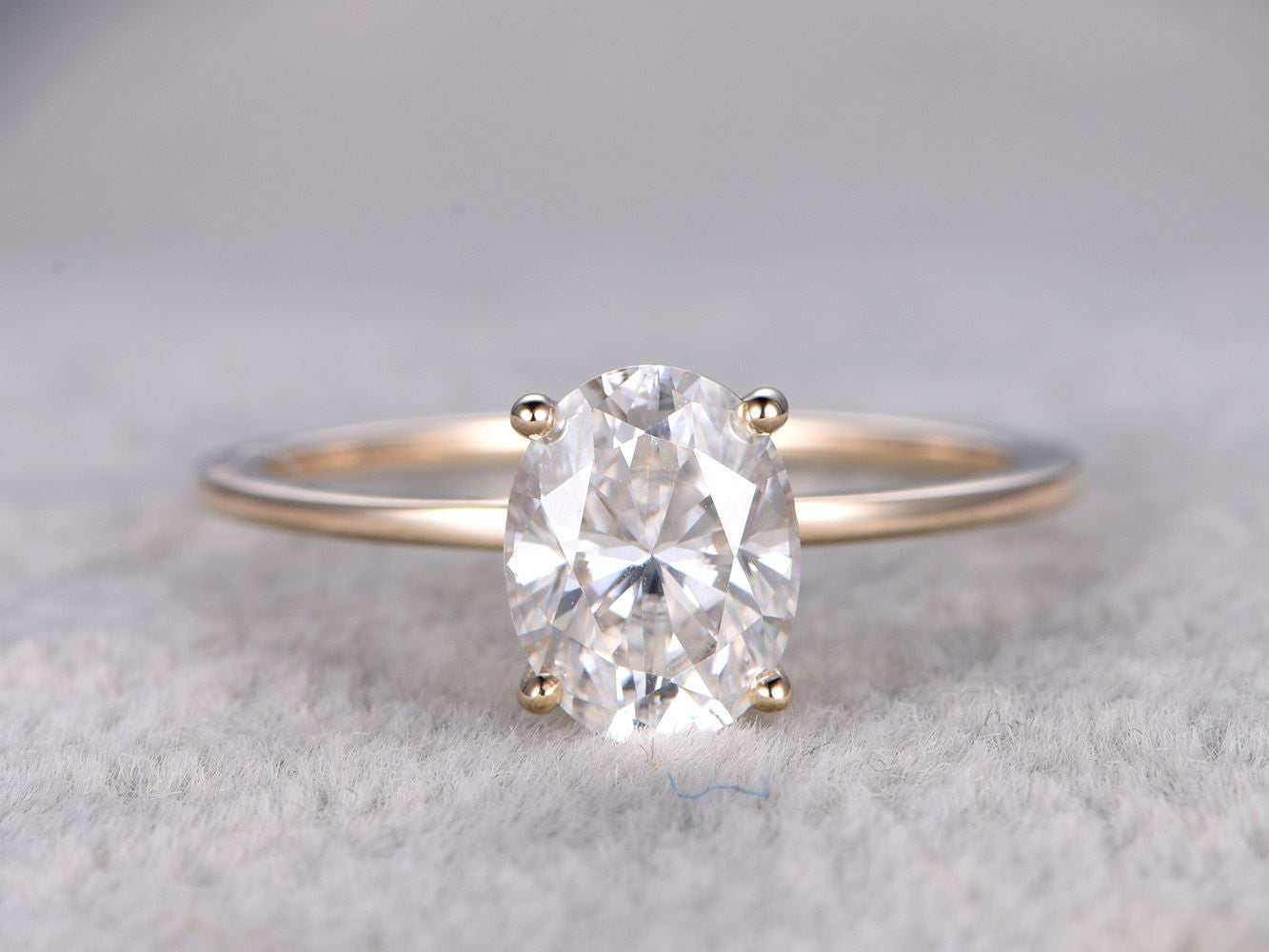 7x9mm Oval Moissanite Engagement ring! 14k yellow gold,Solitaire,Plain gold band,Bridal Ring,Classic,Forever Brilliant,Forever One available